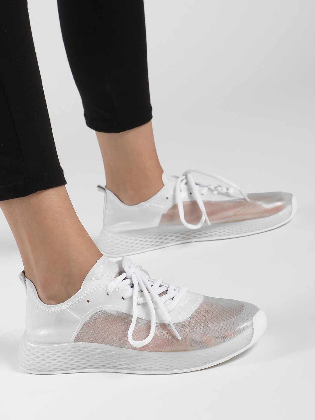 Ideal Shoes White Knitted Mesh Trainers 1