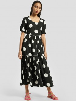 Closet Drama Polka Dot Print Midi Dress