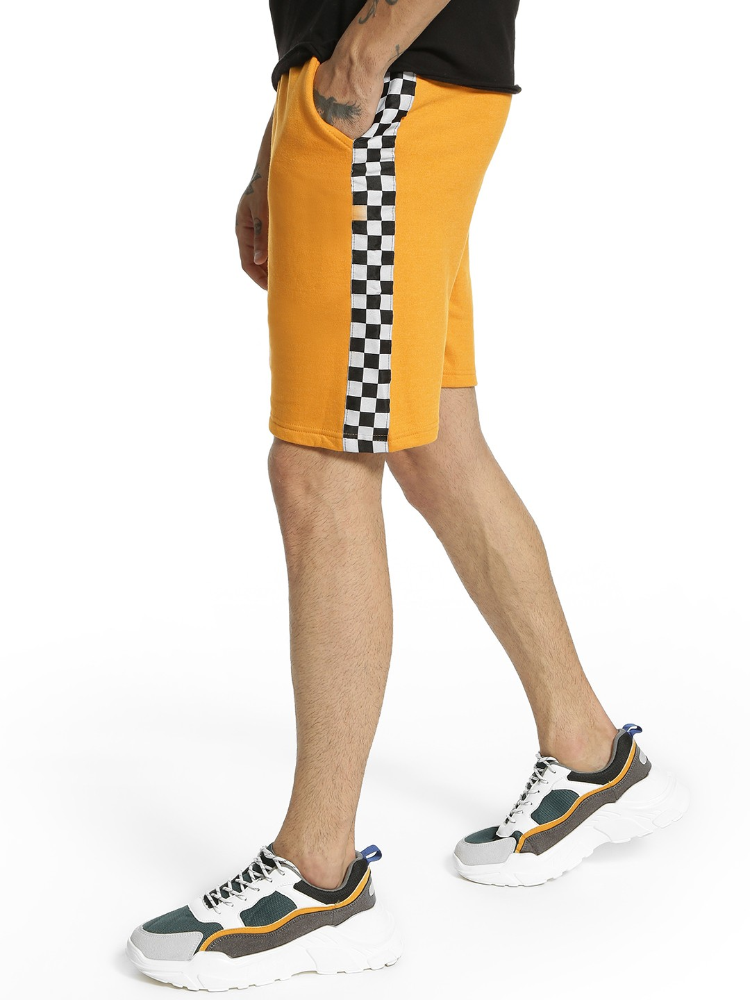 Fighting Fame Yellow Checkerboard Side Tape Shorts 1