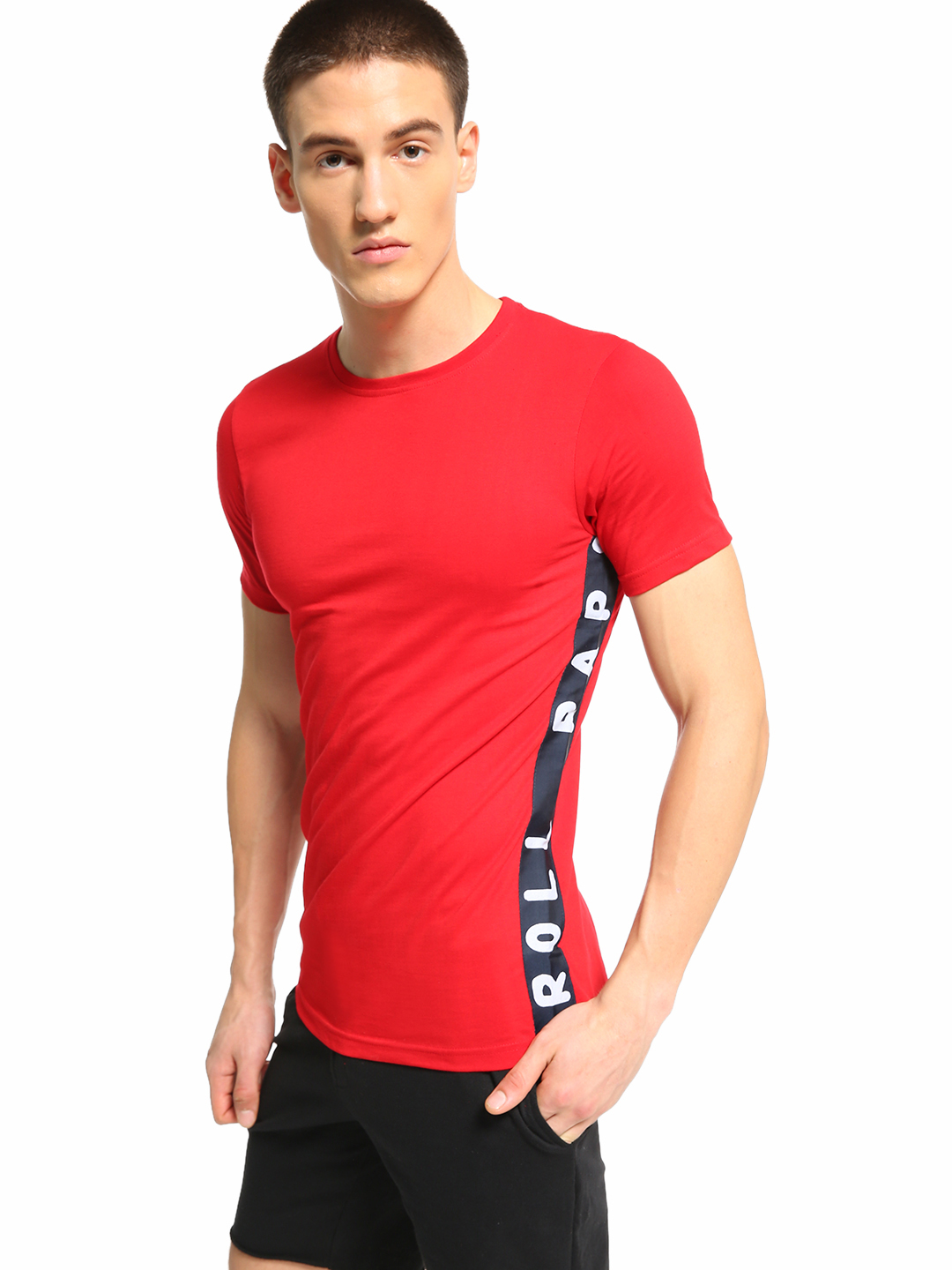 Fighting Fame Red Rap & Roll Side Tape T-Shirt 1