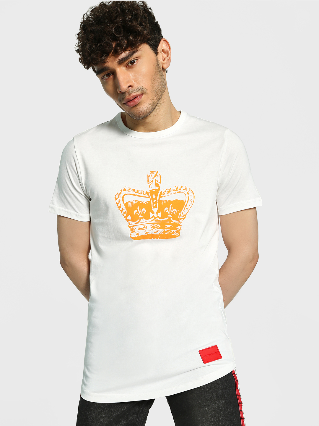 Fighting Fame White King Crown Longline T-Shirt 1
