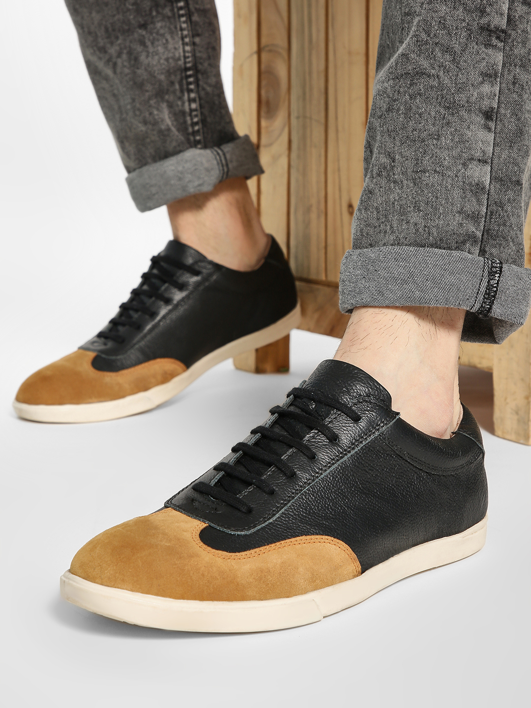 YOHO Black Suede Panel Leather Sneakers 1