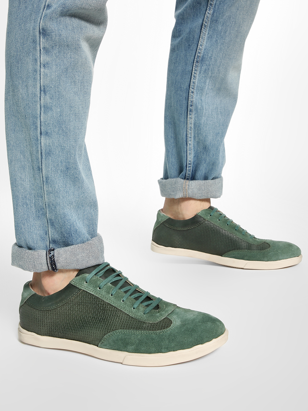 YOHO Green Suede Panel Leather Sneakers 1