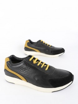 YOHO Snakeskin Suede Panel Leather Sneakers