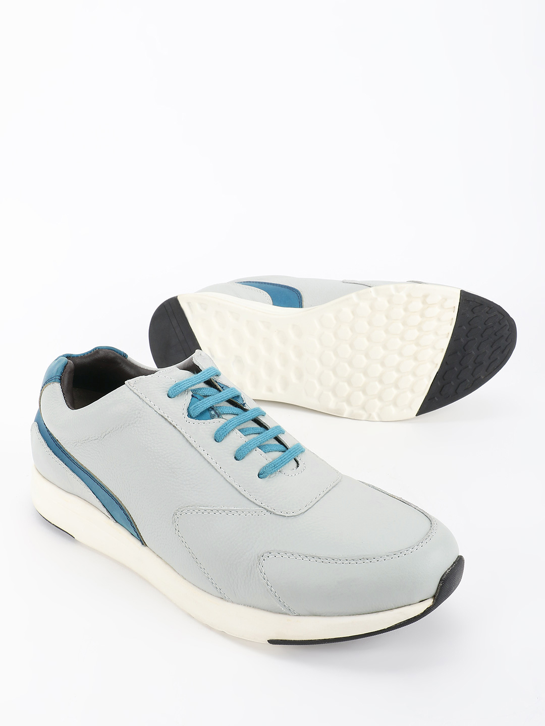 YOHO Grey Colour Block Panel Leather Sneakers 1