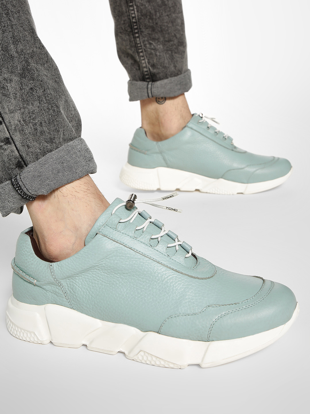 YOHO Blue Textured Cord Feed Leather Sneakers 1