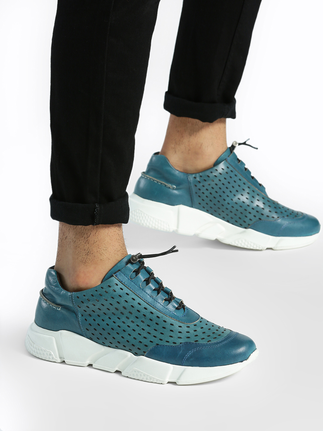 YOHO Blue Lazer Cut Cord Feed Leather Sneakers 1