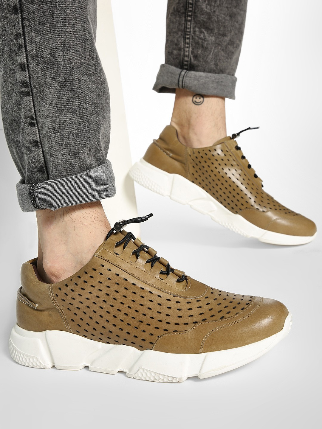 YOHO Brown Lazer Cut Cord Feed Leather Sneakers 1