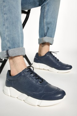YOHO Textured Cord Feed Leather Sneakers