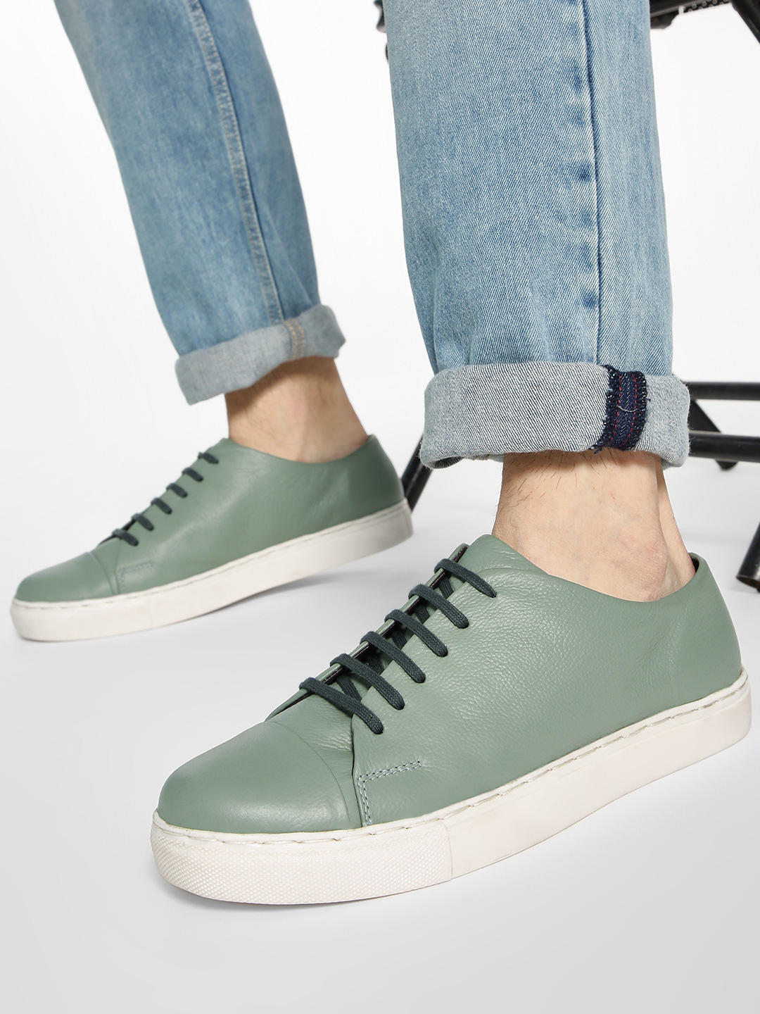 YOHO Green Basic Lace-Up Leather Sneakers 1