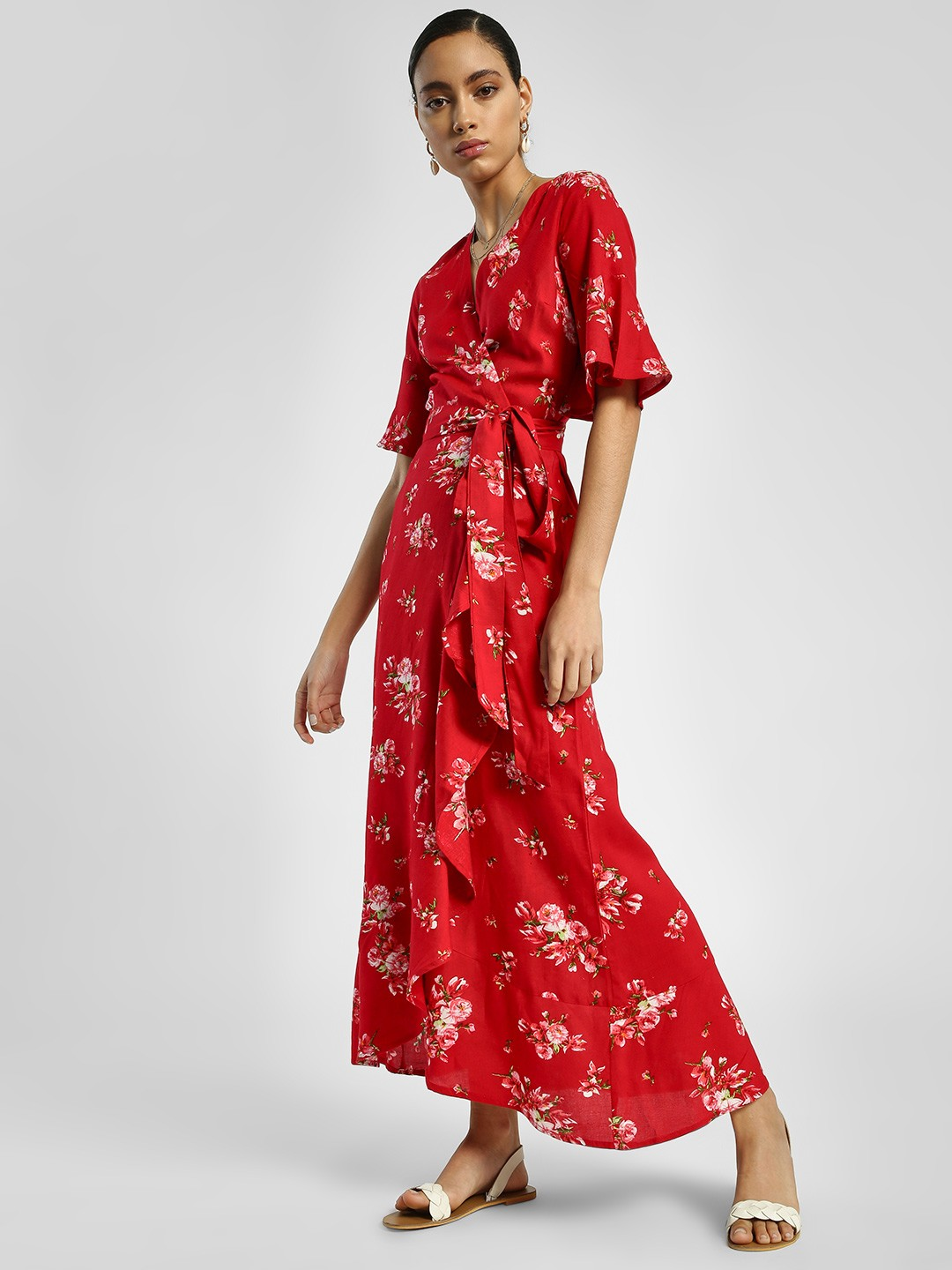 Miaminx Red Floral Print Wrap Maxi Dress 1