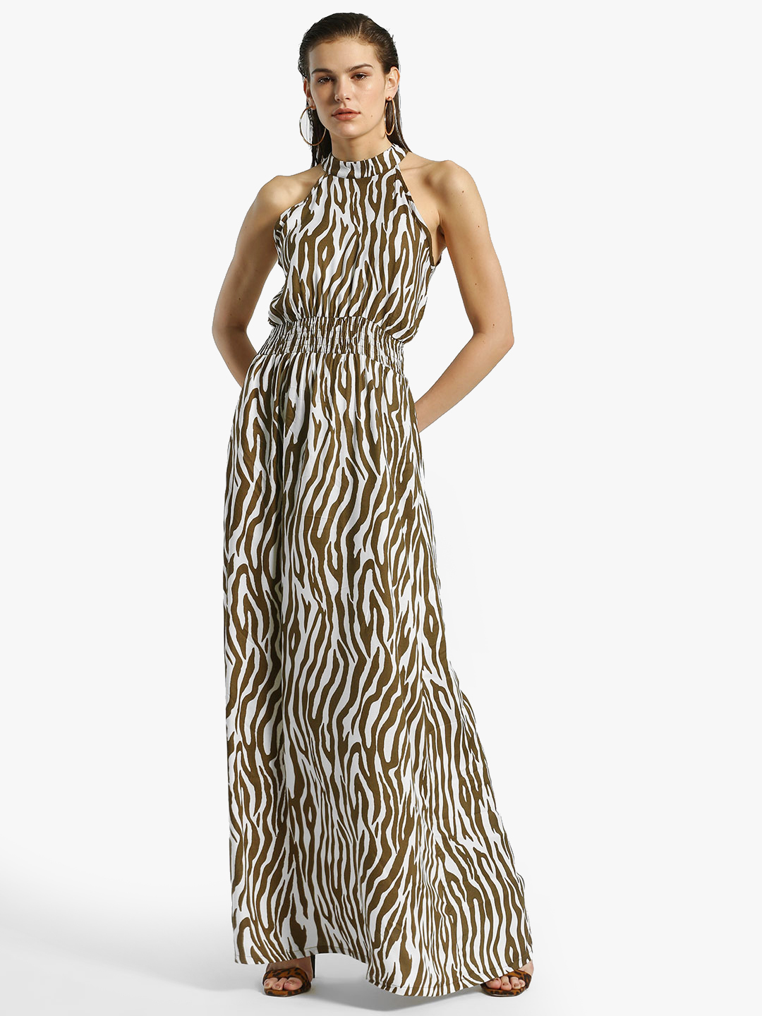 Miaminx Off White Zebra Print Maxi Dress 1