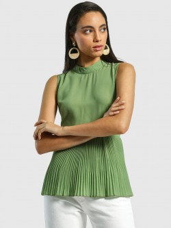 Miaminx Back Tie-Knot Pleated Blouse