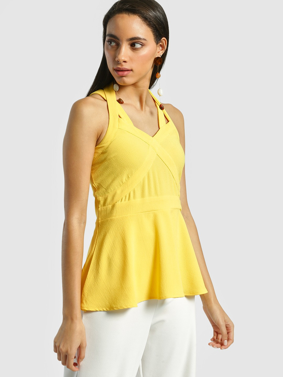 Miaminx Yellow Crinkled Cross Strap Top 1