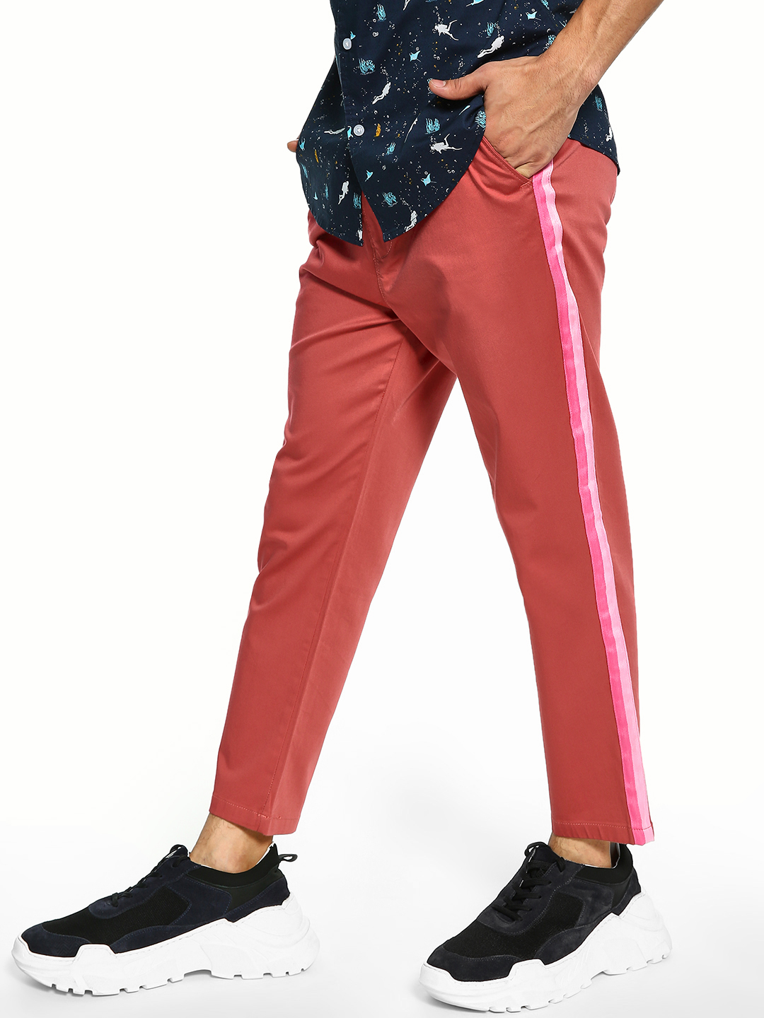 Spring Break Pink Contrast Side Tape Trousers 1