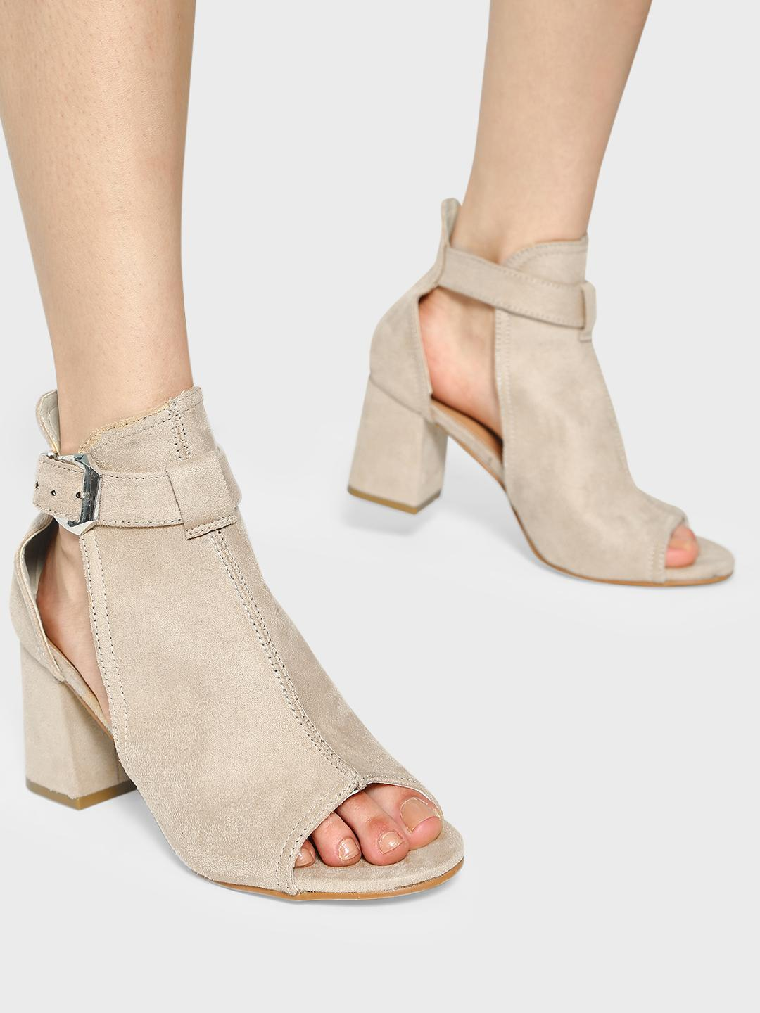 Truffle Collection Nude Peep-Toe Ankle Heeled Sandals 1