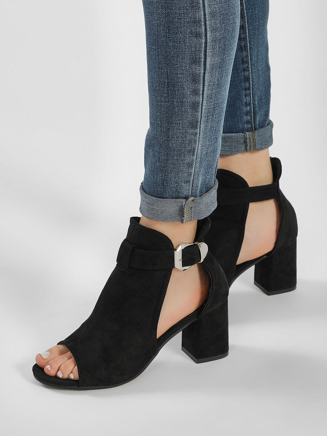 Truffle Collection Black Peep-Toe Ankle Heeled Sandals 1