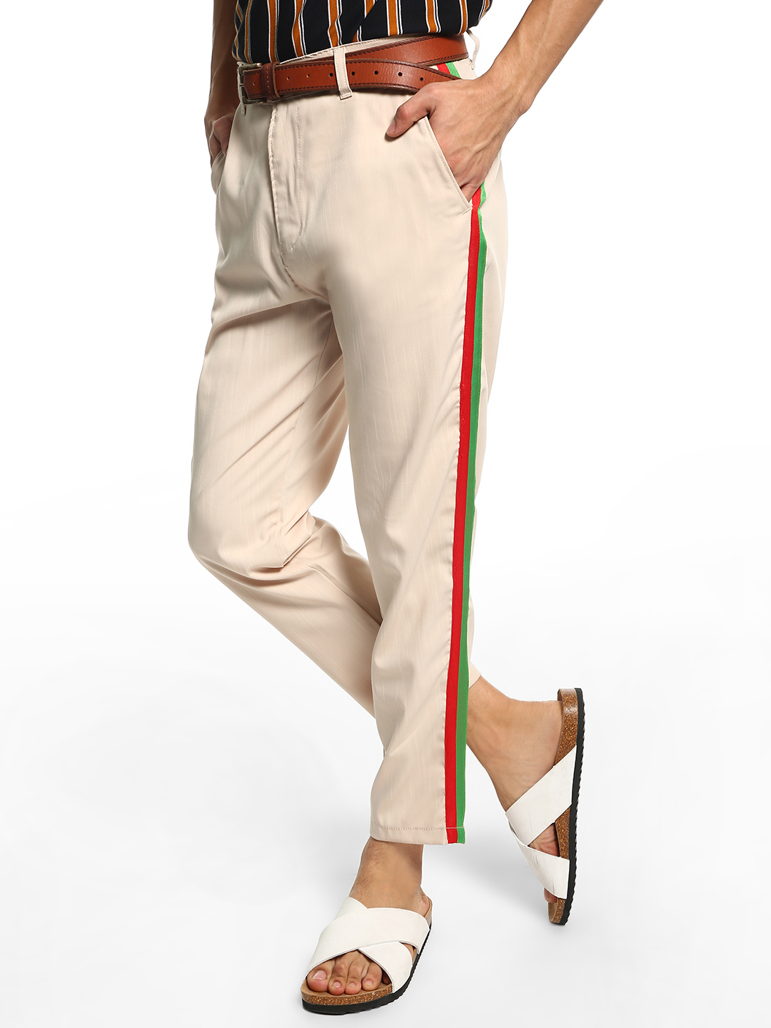Spring Break Beige Contrast Side Tape Trousers 1