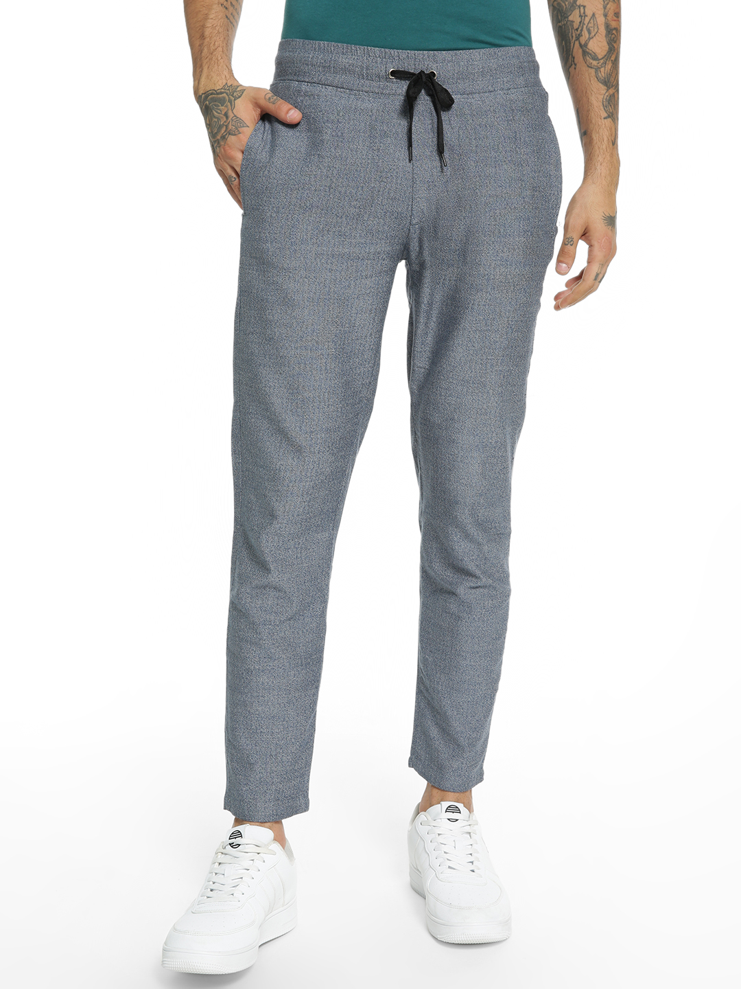 Spring Break Blue Two-Tone Knitted Drawcord Trousers 1