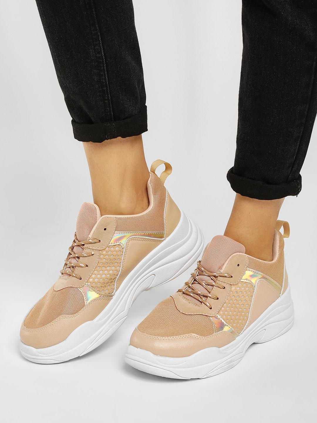 Truffle Collection Nude Chunky Sole Trainers 1