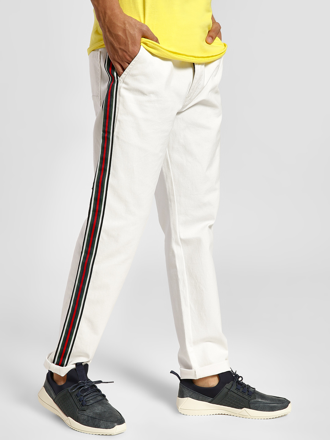 REALM White Contrast Side Tape Slim Jeans 1