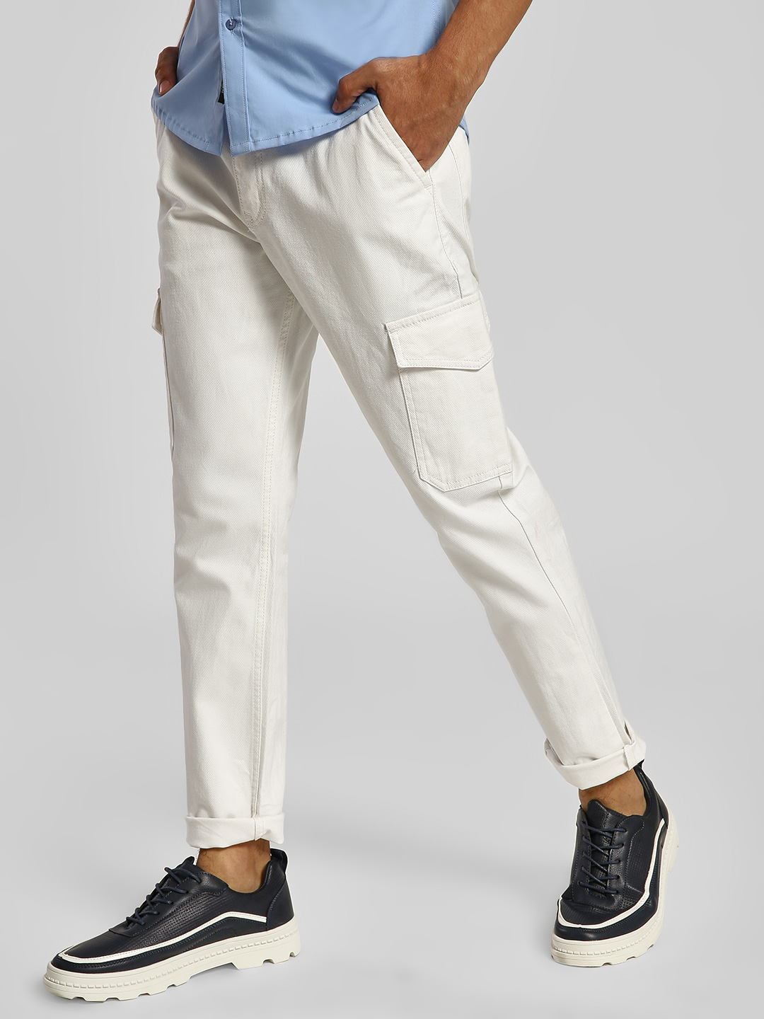 REALM White Cargo Pocket Slim Jeans 1
