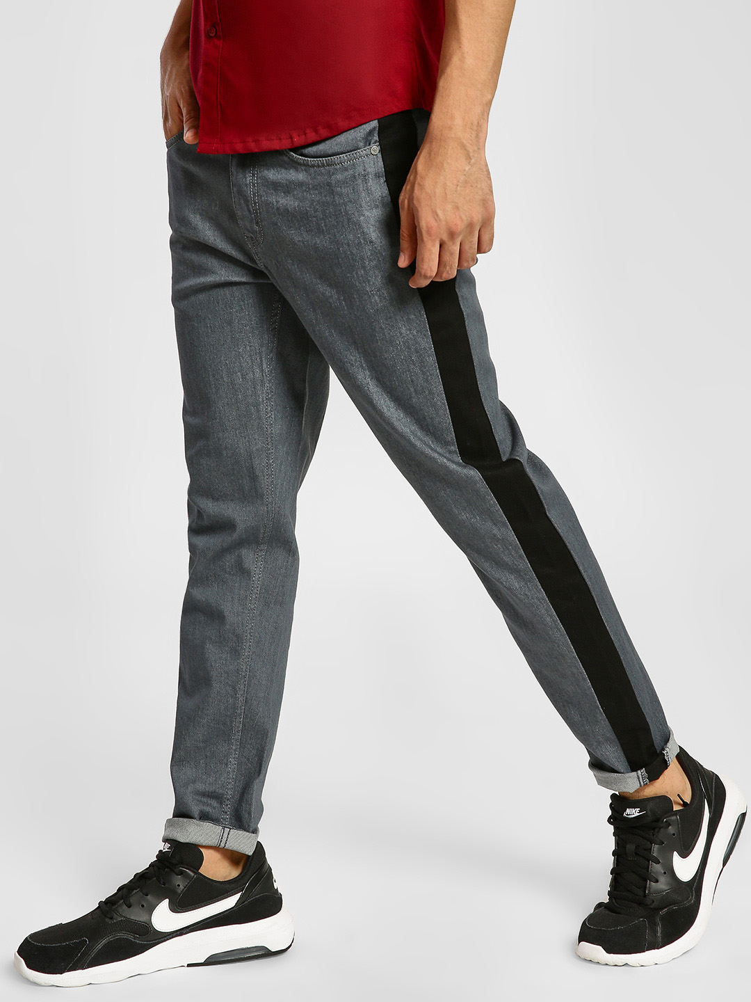 REALM Multi Contrast Side Cut & Sew Slim Jeans 1