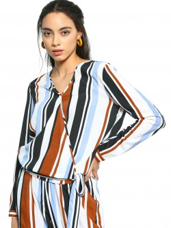 The Gud Look Multi-Stripe Long Sleeve Wrap Top