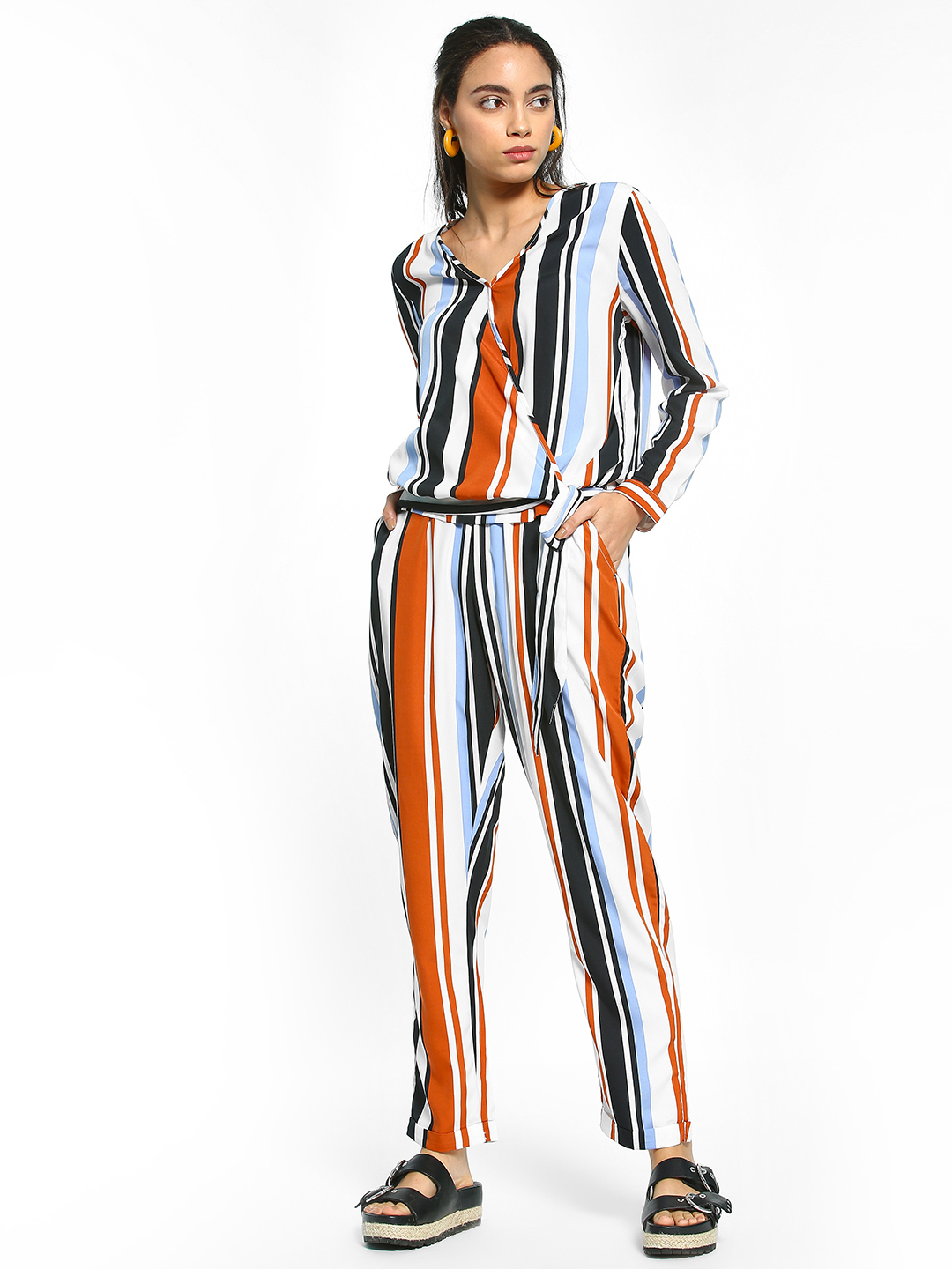 The Gud Look Multi Vertical Stripe Paperbag Trousers 1