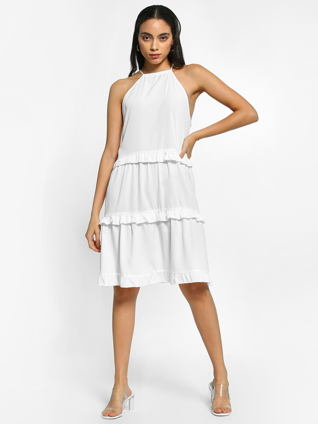 The Gud Look White Tiered Detail Shift Dress 1