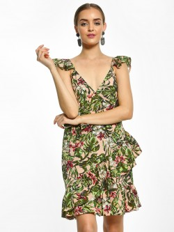 The Gud Look Floral Tropical Print Shift Dress