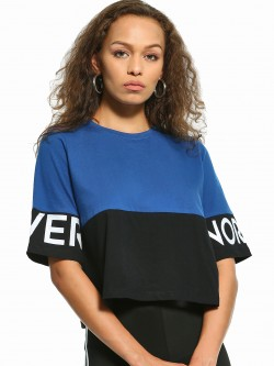 Disrupt Color Block Slogan Print Crop T-Shirt