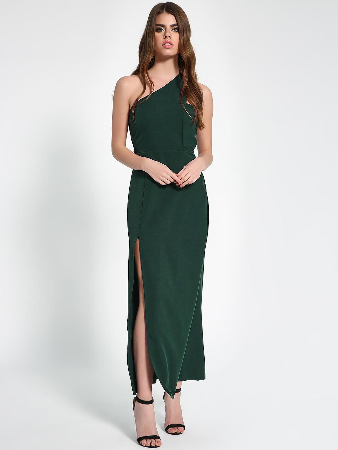 KOOVS DK GREEN Front Slit Maxi Dress 1