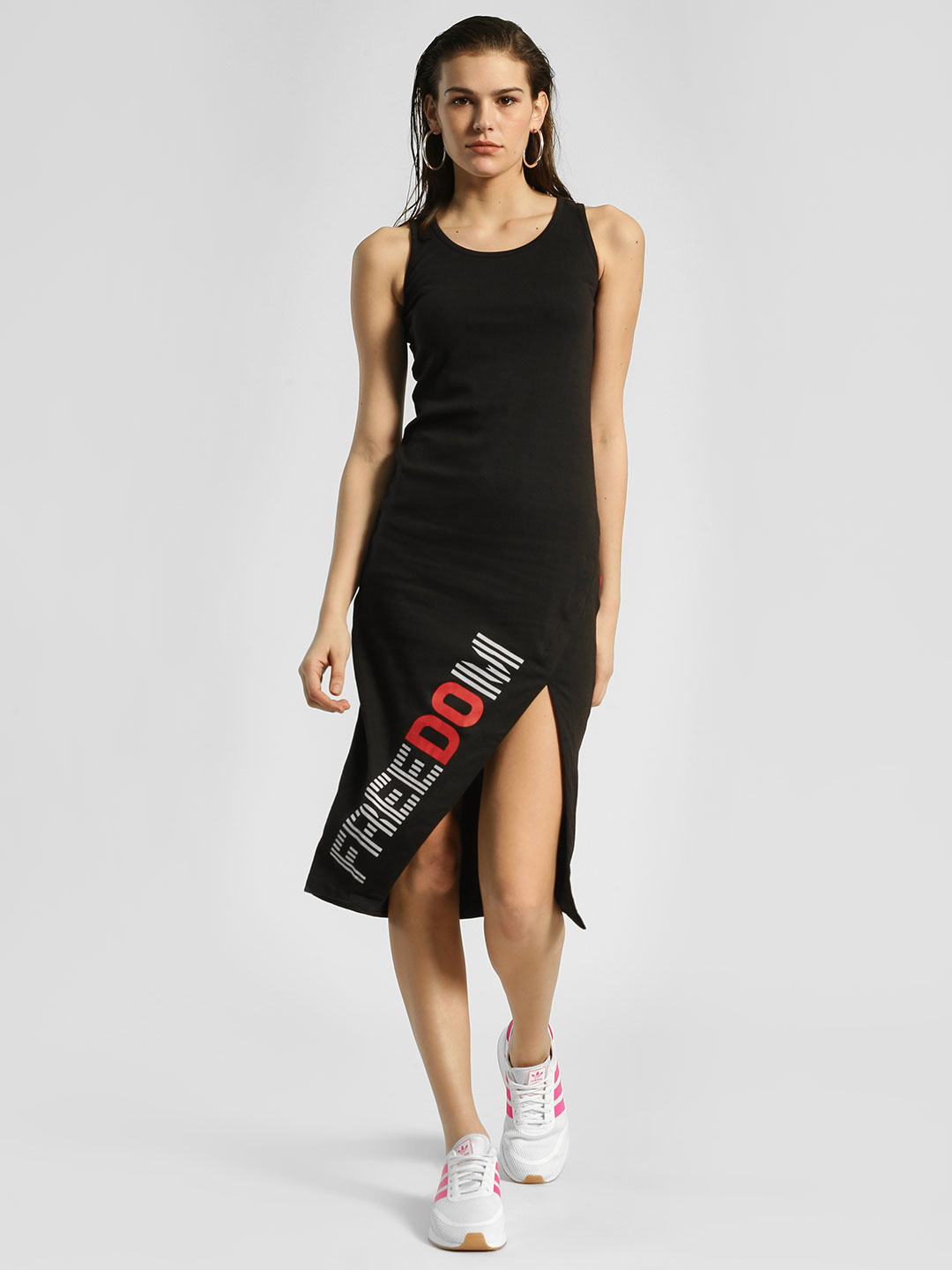Disrupt Black Freedom Cut-Out Ribbed Bodycon Dress 1