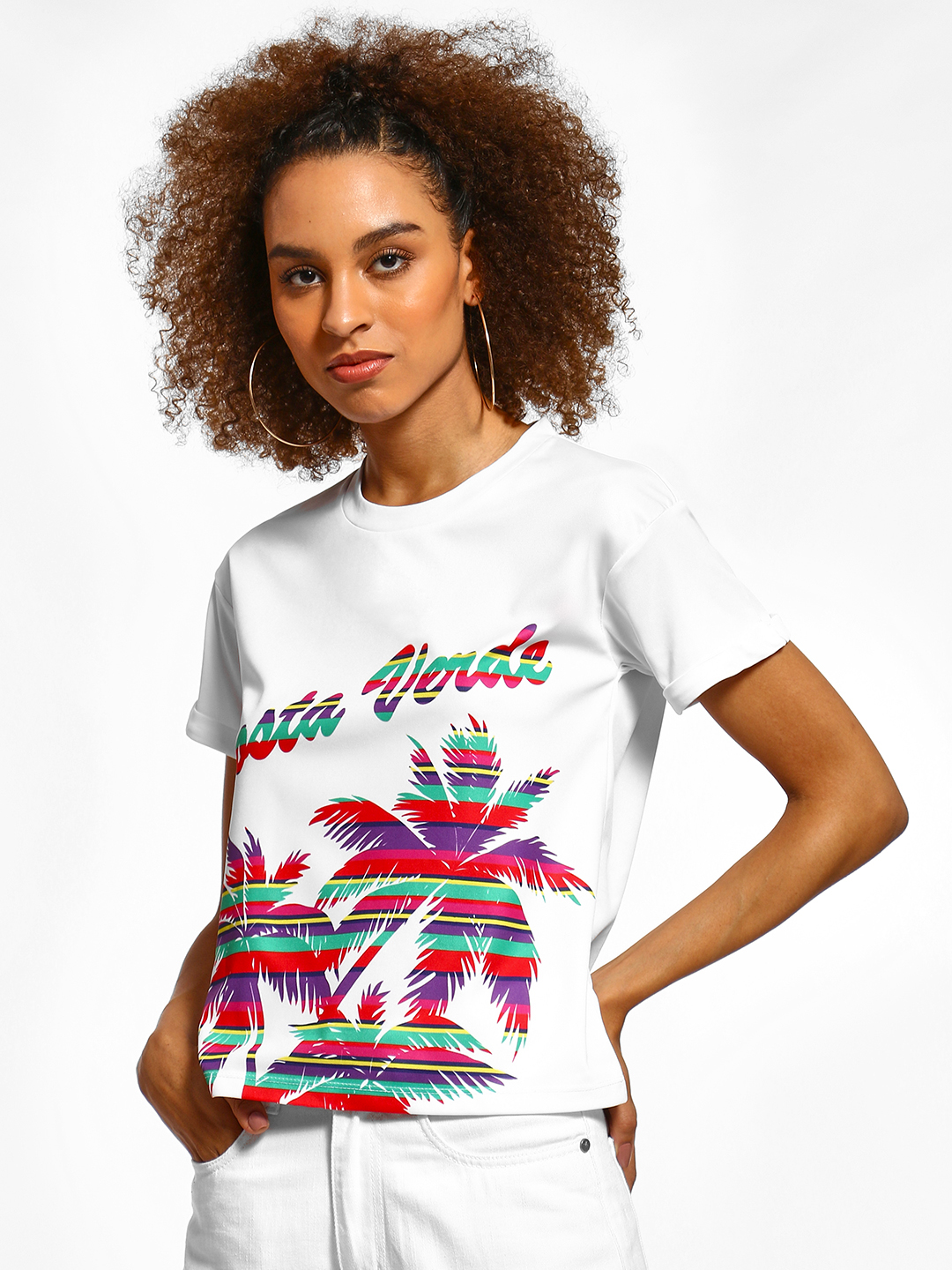 KOOVS Multi Stripe Palm Tree Text T-Shirt 1