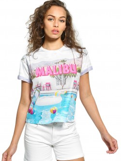 KOOVS Malibu Pool Party Print T-Shirt