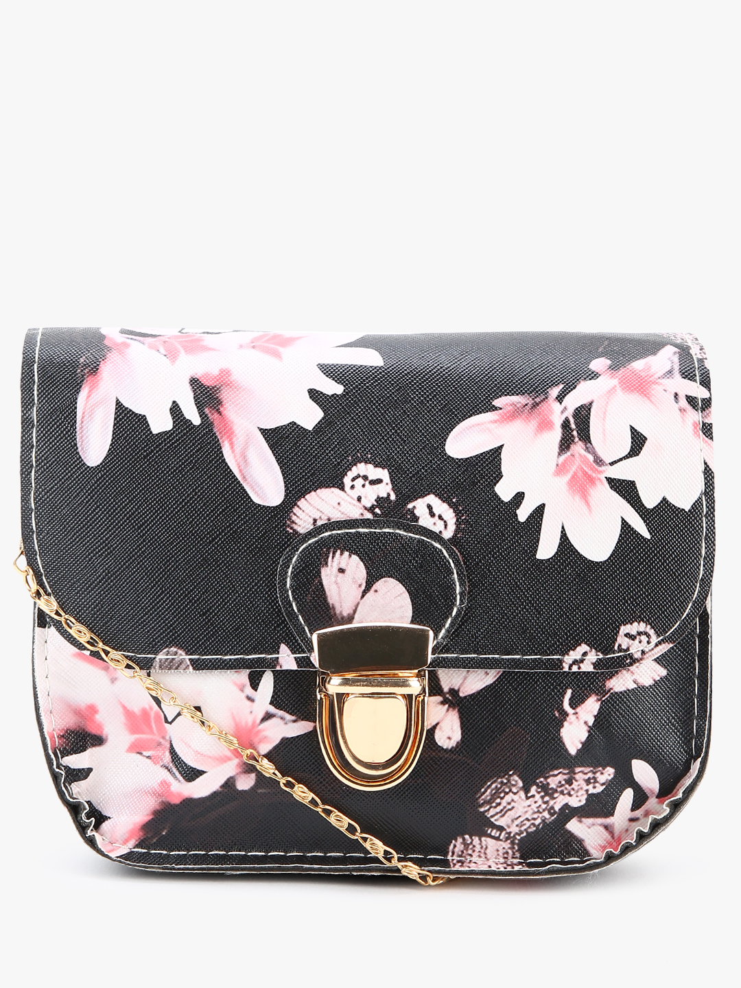 EmmaCloth Black Floral Print Sling Bag 1