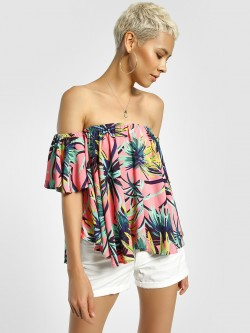 KOOVS Palm Print Off Shoulder Top