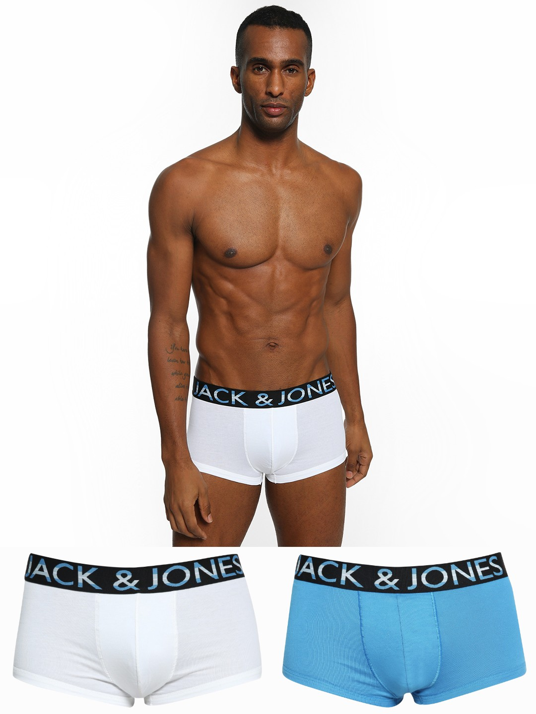 Jack & Jones Multi Basic Logo Waistband Trunks (Pack Of 2) 1