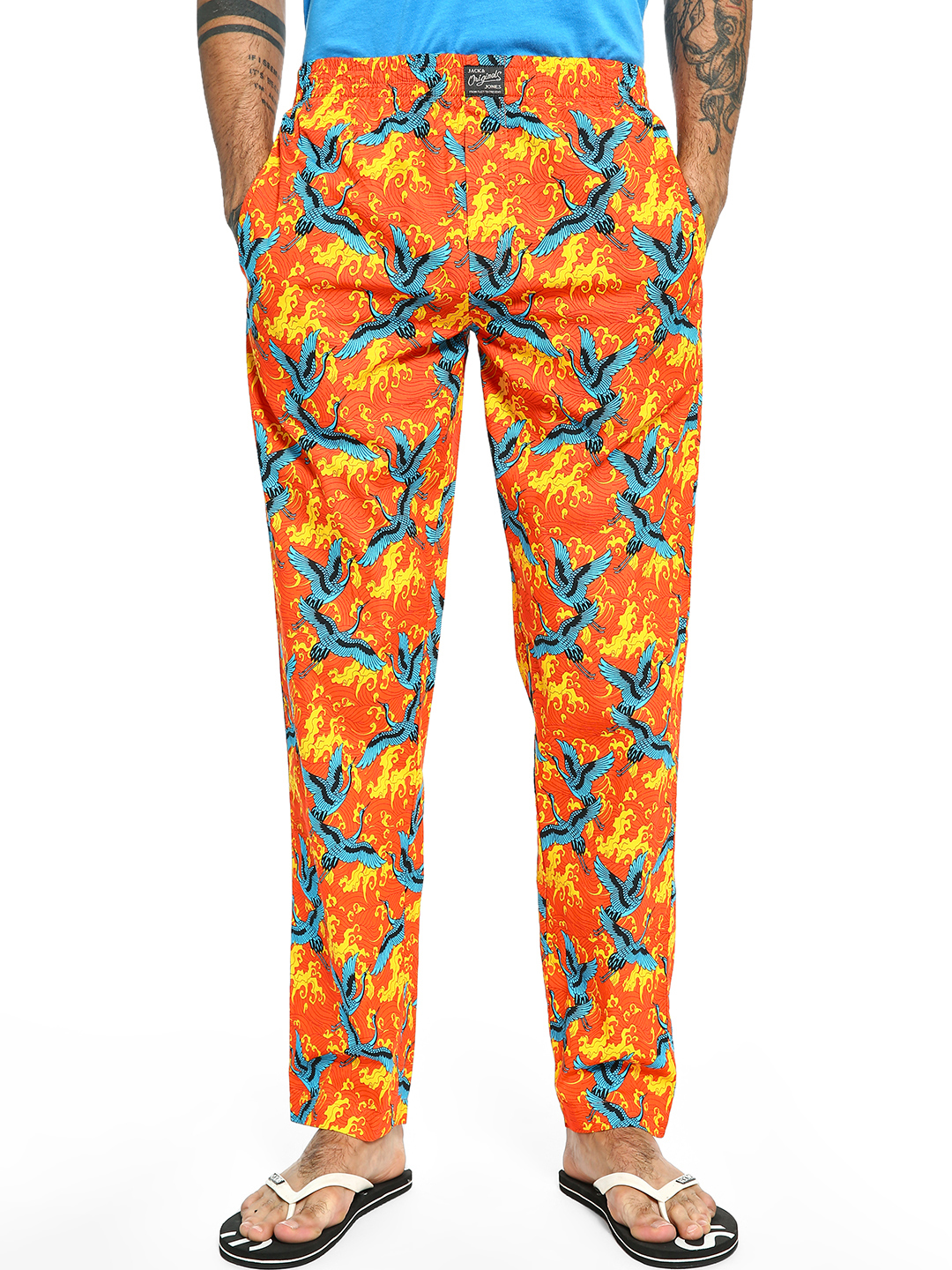 Jack & Jones Orange Oriental Bird Print Lounge Pants 1