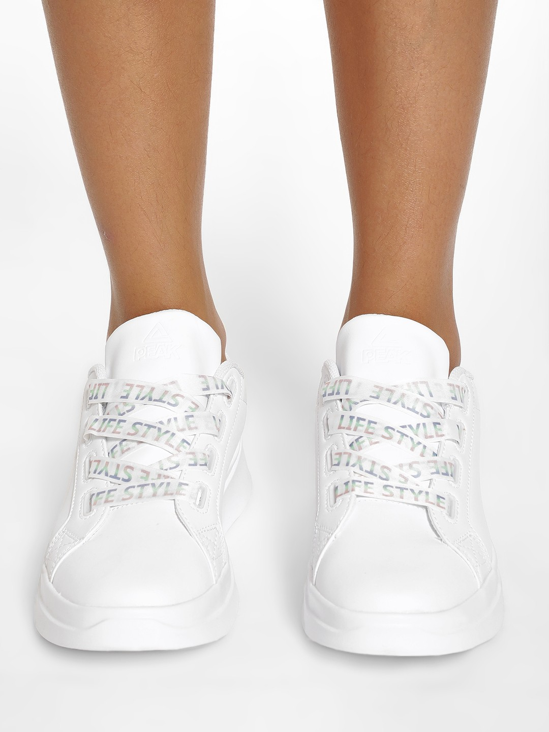 Peak White Text Print Lace-Up Shoes 1