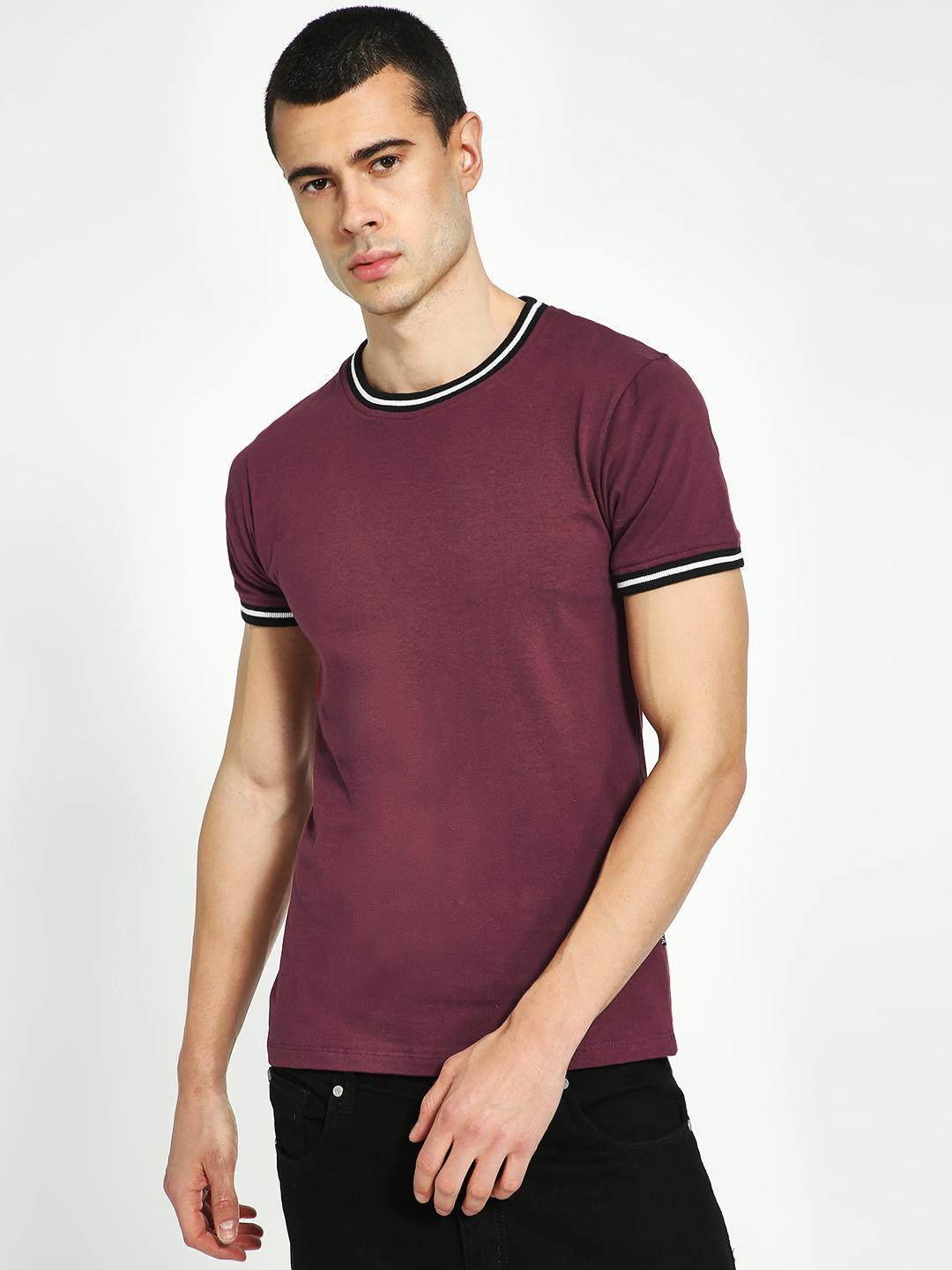 KOOVS Maroon Muscle Fit Ringer T-Shirt 1