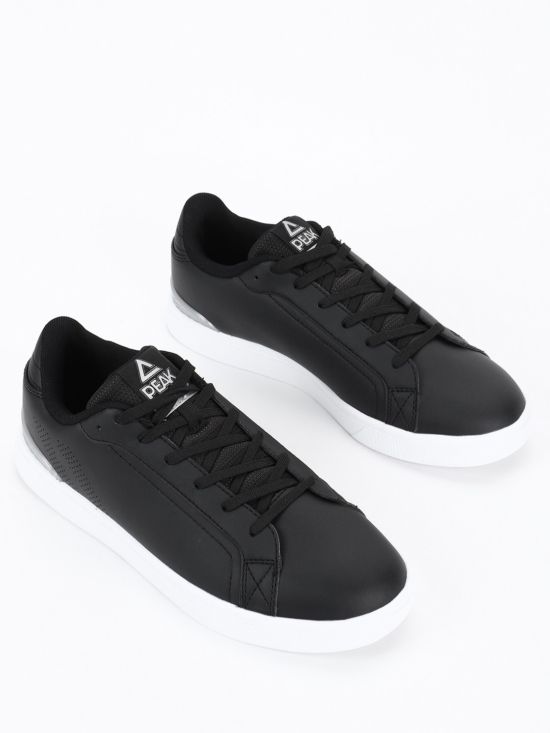Peak Black Perforated Side Lace-Up Sneakers 1