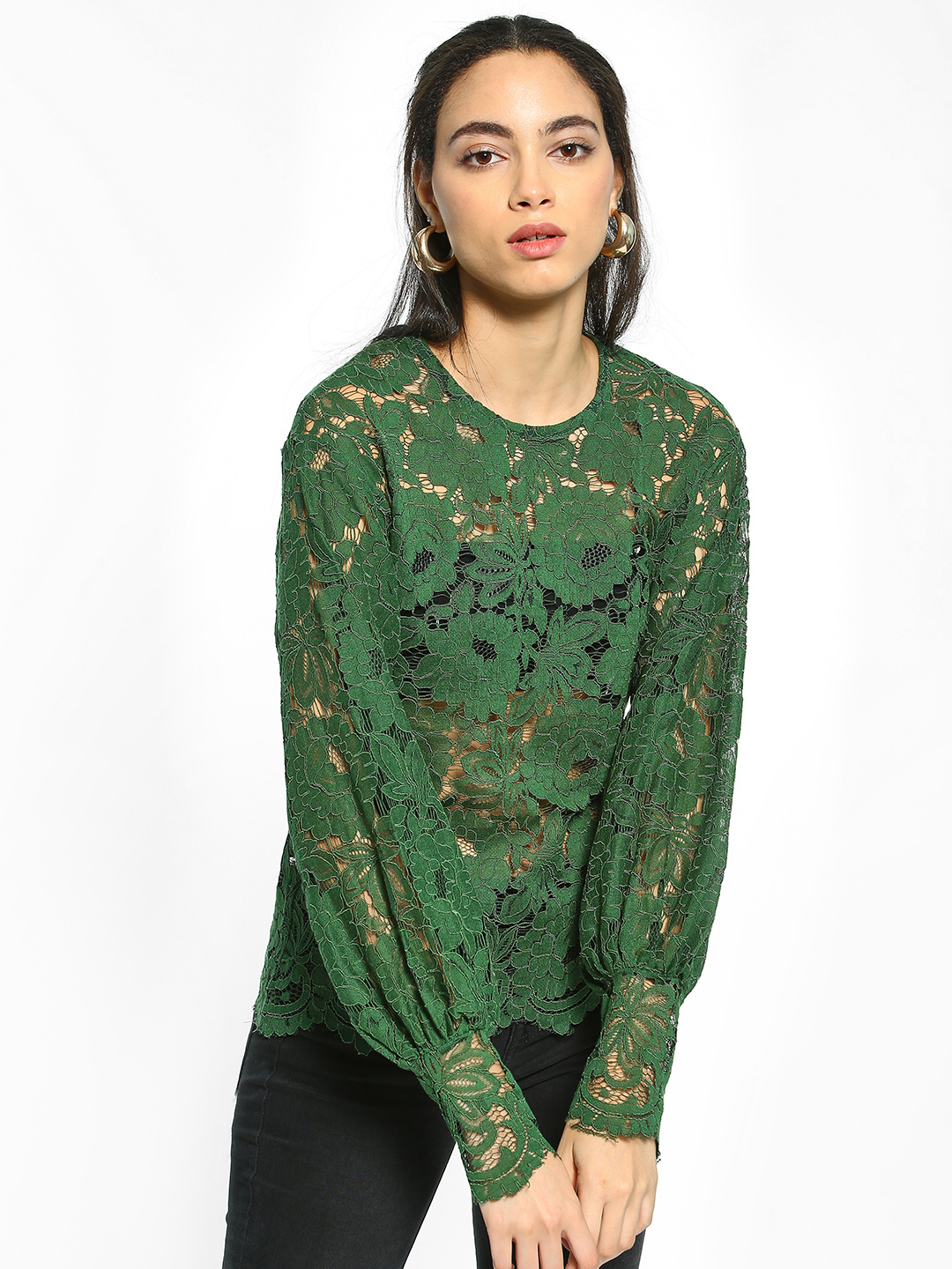 EmmaCloth Green Bishop Sleeve Floral Lace Blouse 1