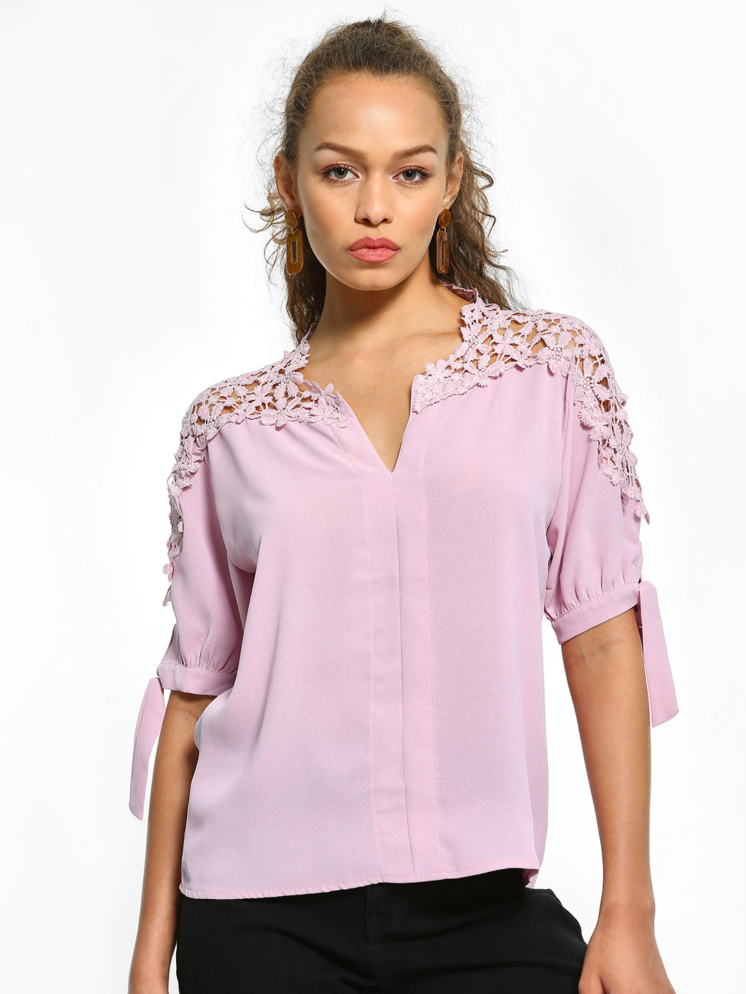 EmmaCloth Purple Crochet Lace Sleeve Blouse 1