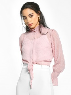 EmmaCloth Dobby Turtleneck Knot Crop Top