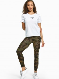 EmmaCloth Camo Print Side Stripe Leggings
