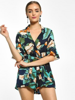 EmmaCloth Floral Print Tie-Knot Playsuit