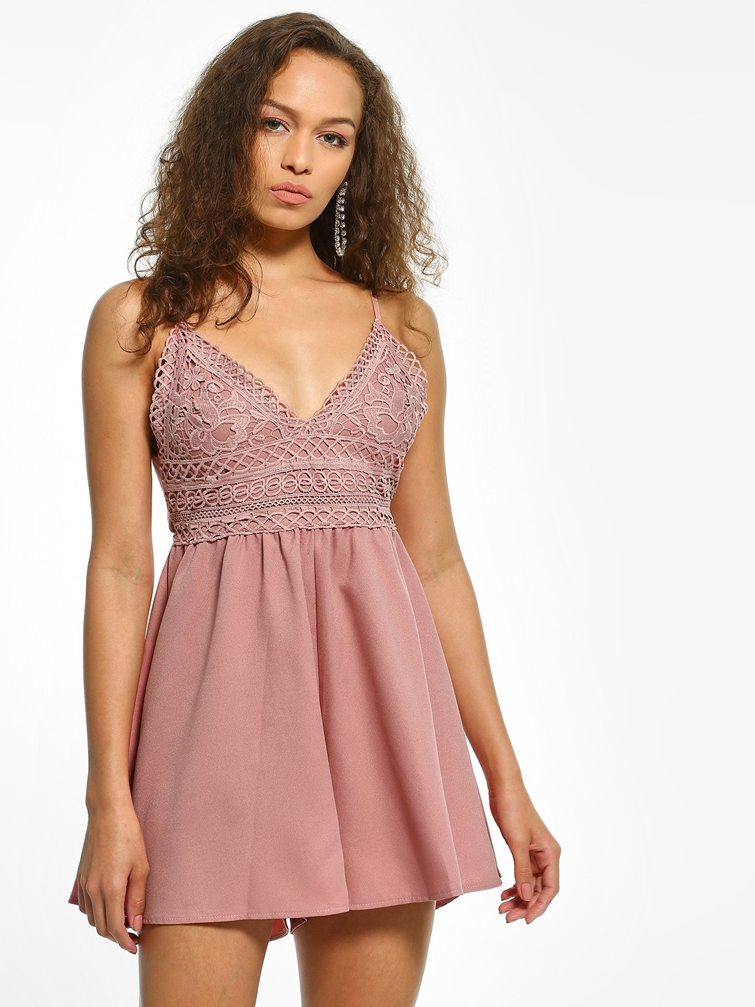 EmmaCloth Pink Crochet Lace Back Bow-Tie Playsuit 1