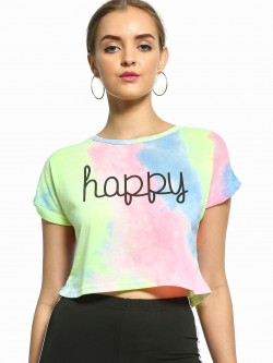 EmmaCloth Tie-Dye Happy Print T-Shirt